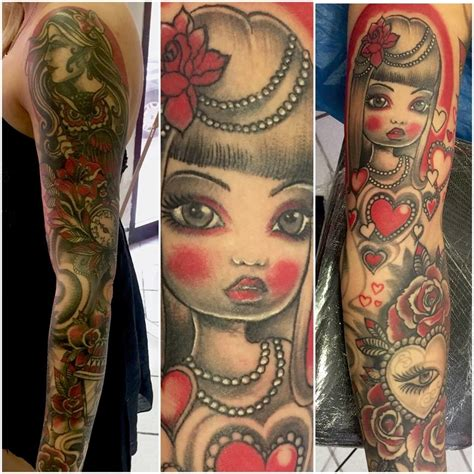 tattoo old school avambraccio braccio intero tatuaggio in rosso e nero good mornink