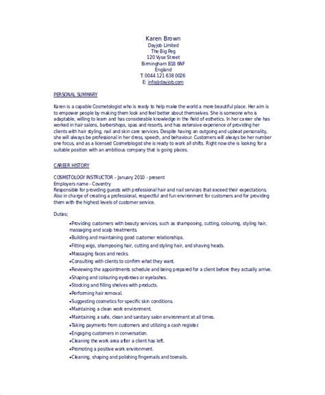 cosmetology resume exles for students 6 cosmetology resume templates pdf doc free premium templates