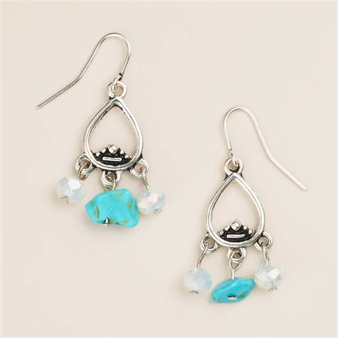 small silver turquoise dangle earrings world market