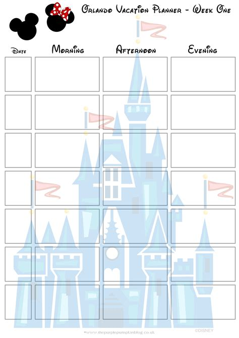 printable vacation planner calendar orlando walt disney world vacation planner free