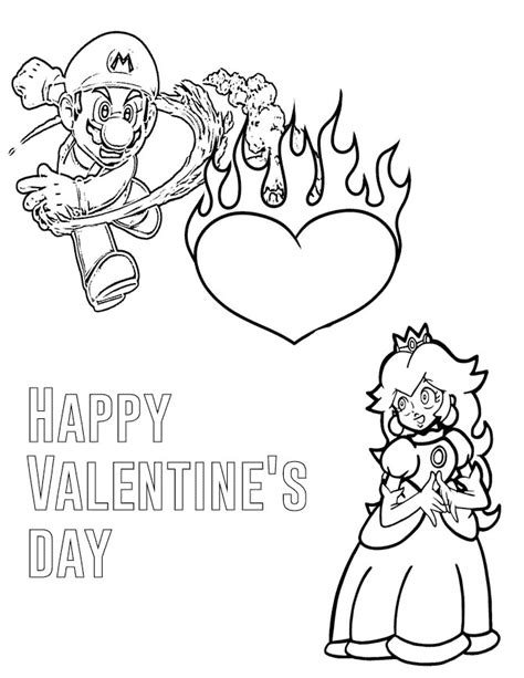 mario and princess valentines day coloring page h m