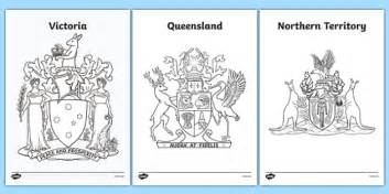 Australian States And Territories Coat Of Arms Colouring Australian Coat Of Arms Colouring Page