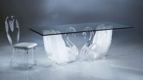 Windshield Acrylic acrylic clear legend swan rectangular dining table with