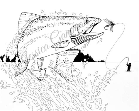coloring pages rainbow trout instant download pen and ink drawing manly adult coloring
