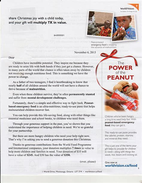 charity appeal letter sles fundraising appeal letter for world vision canaada