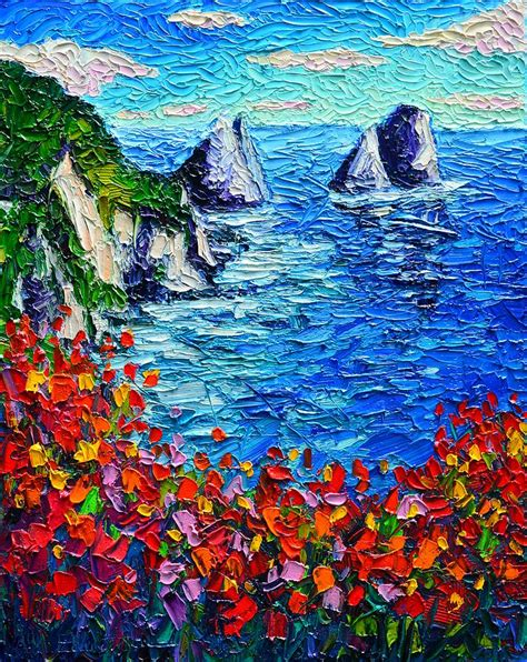 painting impressionism modern large original faraglioni 2 italy colors modern impressionist