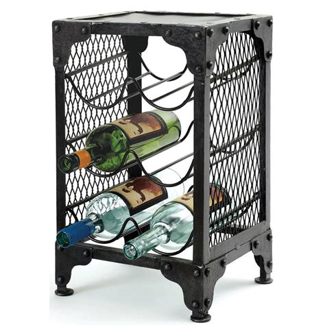 Wine Rack End Table by Industrial Loft Wire Mesh Rivet Wine Rack End Table