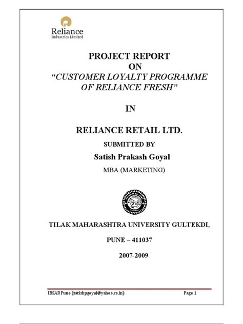 Scribd Project Report Mba by Project Report Of Customer Loyalty Programme Of Reliace