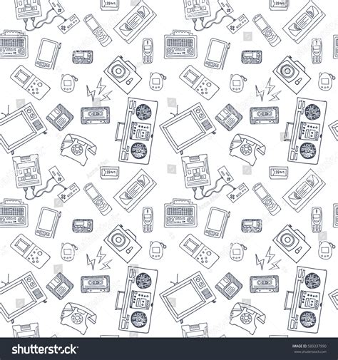 photoplay doodle design draw vector seamless pattern retro equipment stock vector