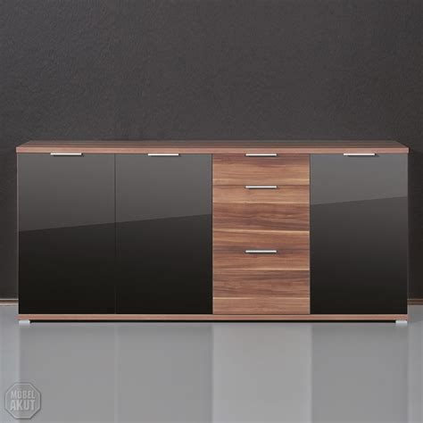Kommode Walnuss Schwarz by Sideboard Quot Pace Quot Kommode In Walnuss Schwarz Glas Ebay
