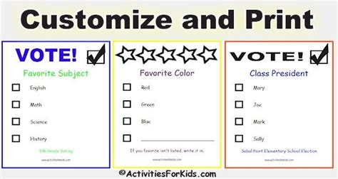 printable election bookmarks printable voting ballots for kids add your candidates