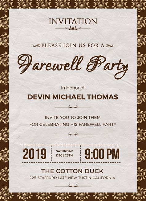 Farewell Invitation Design Template In Word Psd Publisher Free Farewell Invitation Templates