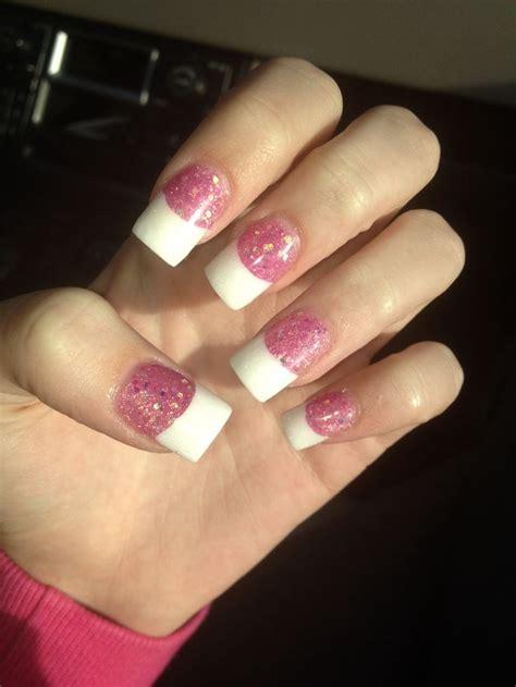 acrylic nail tips acrylic nails glitter pink tip my nails