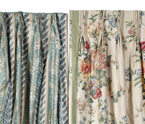 floral curtain panels ten cream ground floral chintz and eight blue floral