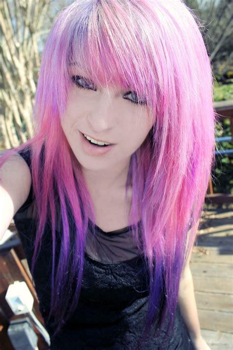 dyed hairstyles purple purple dip dyed hair purple pink pinterest