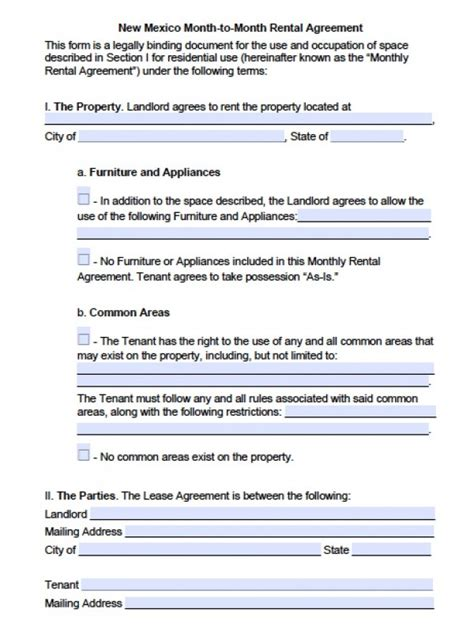 free new mexico month to month lease agreement pdf