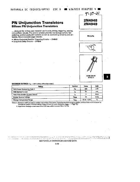 unijunction transistor datasheet unijunction transistor datasheet 28 images 2n4948 motorola pn unijunction transistors