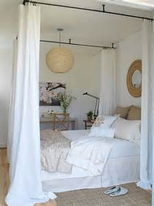 how to put curtains on a canopy bed diy canopy bed with curtain rods woodworking projects