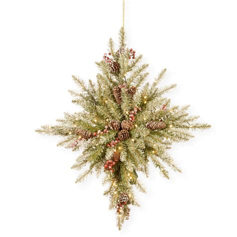 national tree snowy impearial national tree company 32 in snowy dunhill fir bethlehem with battery operated led lights