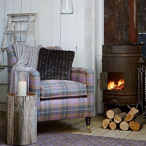 armchair in living room rustic living room with checked armchair decorating
