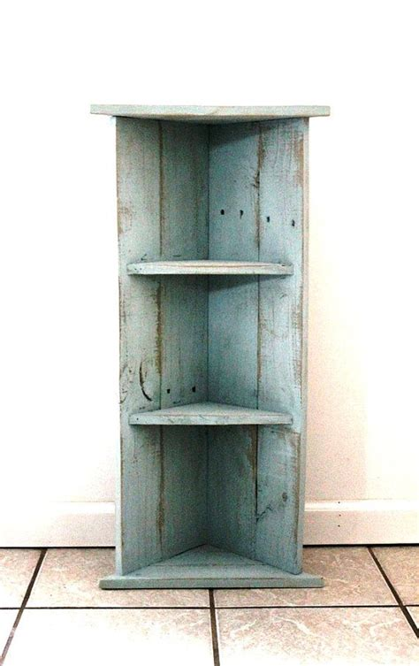 handmade corner bookcase blue two by