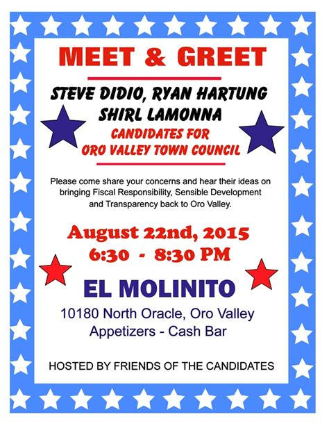 Oro Valley Town Council Candidates Meet Greet Blog For Arizona Meet And Greet Flyer Template