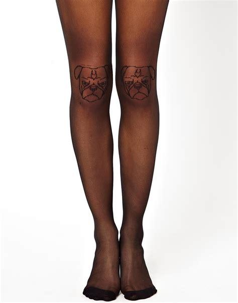 asos pug dress asos pug knee tights in black lyst