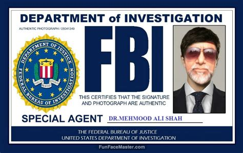 fbi id card template id card use fbi template put your in photo