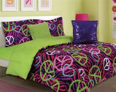 Peace Sign Bedding Set Bedding 5 Comforter Set Pink Purple Green Zebra Peace Ebay