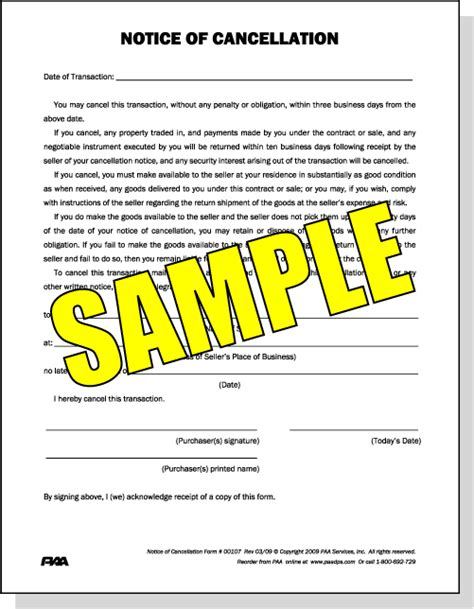 notice of cancellation form or quot cool quot notice