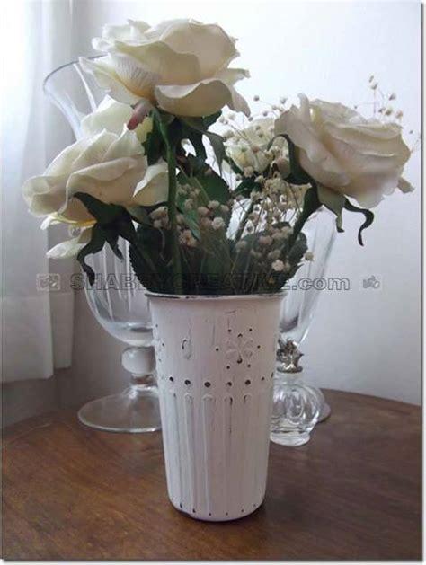 vaso shabby chic vaso shabby chic vaso in vetro con striature e fiorellini
