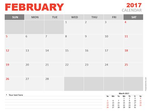 Calendar 2017 Template Powerpoint February 2017 Powerpoint Calendar Presentationgo
