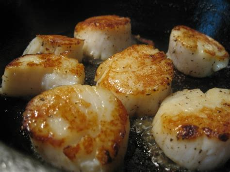 fatback and foie gras pan seared scallops with chive