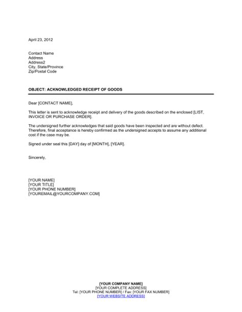 Acknowledgement Letter Delivery Of Goods Acknowledged Receipt Of Goods Template Sle Form Biztree