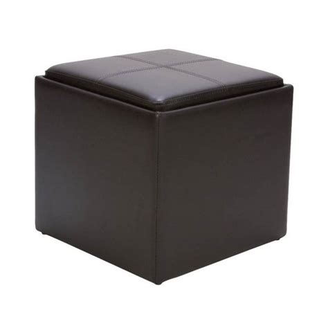 Trent Home Ladd Faux Leather Storage Cube Ottoman In Brown Leather Storage Cube Ottoman
