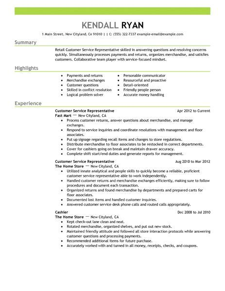 Resume Sles Of Customer Service Customer Service Representative Resume Exles Retail Resume Exles Livecareer