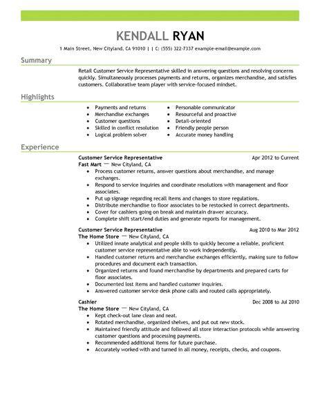 Customer Service Representative Resume Examples   Retail