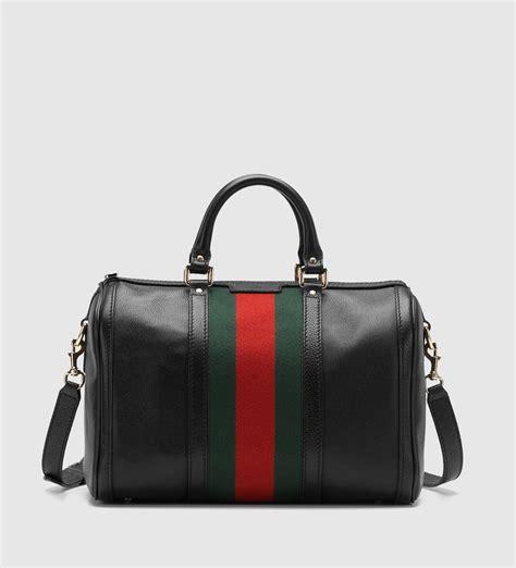 Gucci Boston Bag by Gucci Vintage Web Medium Boston Bag In Black Lyst