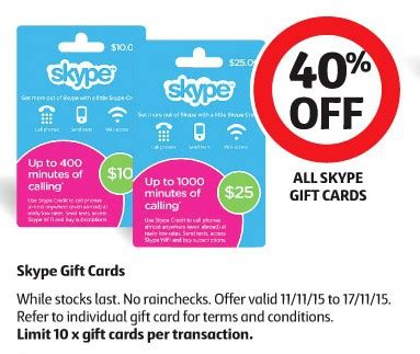 Skype Gift Card - expired 40 off skype cards at coles gift cards on sale