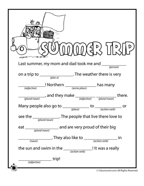 printable road trip mad libs pin by heather bill on road trip pinterest