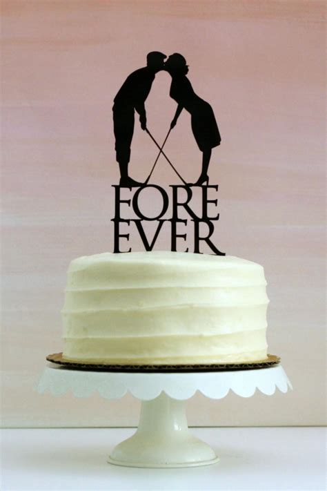 Where To Order Wedding Cake by Fore Golf Wedding Cake Topper With Silhouettes Made