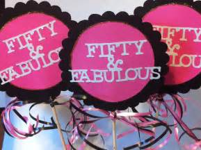 50th birthday centerpiece signs with personalized text