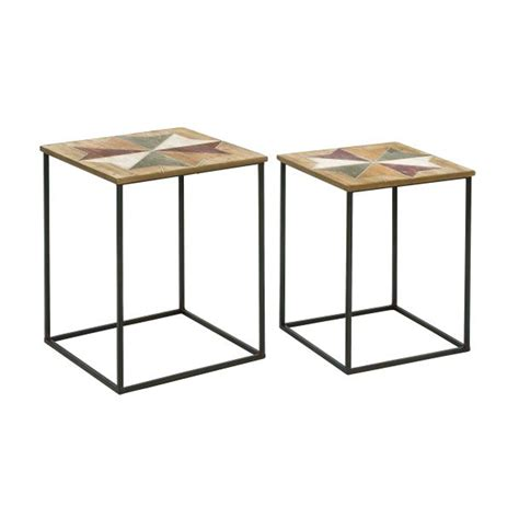 metal and wood accent table saapni com functional wood metal accent table set of two