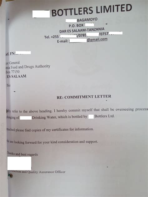 Contract Letter Of Commitment tanzania investment centre