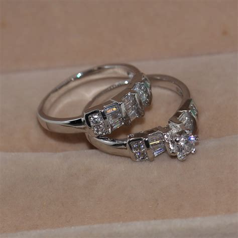 vintage jewelry diamonique white gold filled engagement
