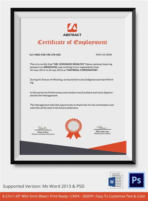 certificate of awesomeness template sle certificate 32 documents in word pdf psd