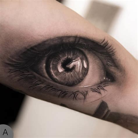 Tattoo Eye Ink | 3d grey ink eye tattoo on arm tattooshunt com