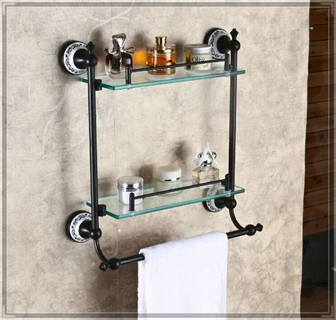 Bathroom Wall Shelf Bronze by Wall Mounted Dual Tier Bathroom Glass Shelf Rubbed
