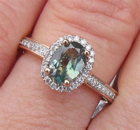 grandidierite engagement ring alexandrite 14k gold halo engagement ring
