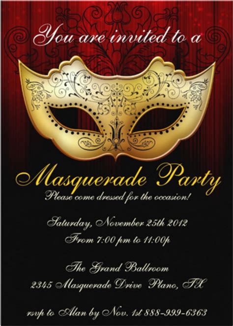 masquerade invitations templates 18 masquerade invitation templates free sle exle